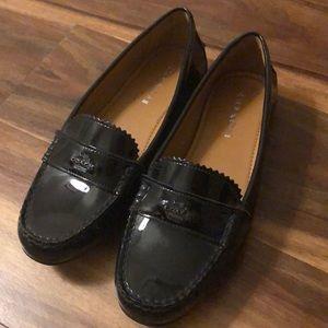 Sz 8 Coach Odette loafer, black patent